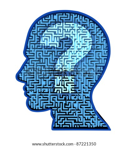 Human brain research and intelligence in autism as a puzzle with a blue glowing maze and labyrinth in the shape of a human head and question mark for thinking and psychology or physiological behavior