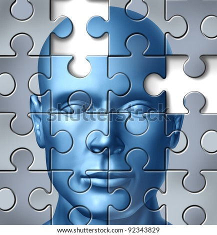 Human brain research and memory loss as a neurological and medical symbol of  alzheimer's clinical concept represented by a frontal human head with missing pieces of the puzzle texture. - stock photo
