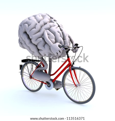 human brain with arms and legs riding a bicycle, 3d illustration