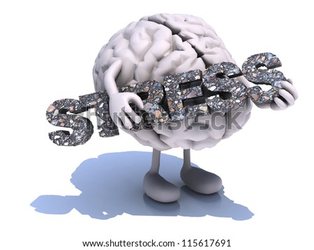 "human brain with arts that embraces a word ""stress"", 3d illustration"