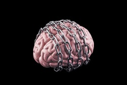 Human brain with chain isolated on black. Free your mind concept