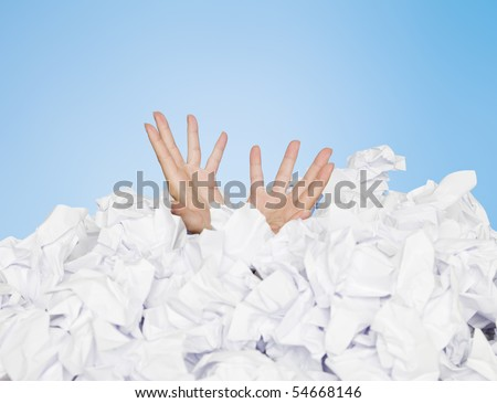 Human buried in white papers on blue background