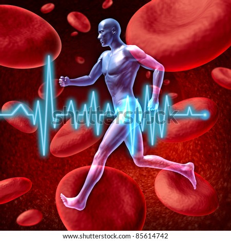 Human cardiovascular circulation represented by a running human on a background of red blood cells flowing through an artery for the concept of the medical circulatory system that is well oxygenated.
