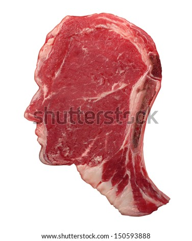 Human carnivore food concept as a red meat steak shaped as a head in a symbol of agriculture diet and nutrition from animal flesh as a source of protein and thinking about the risks and benefits.