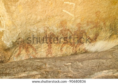 Human Cave or Tham Khon in Udornthani (travel place) Thailand  - a natural sandstone rock shelter represents archeology dates to circa 2,000-3,000 B.P.