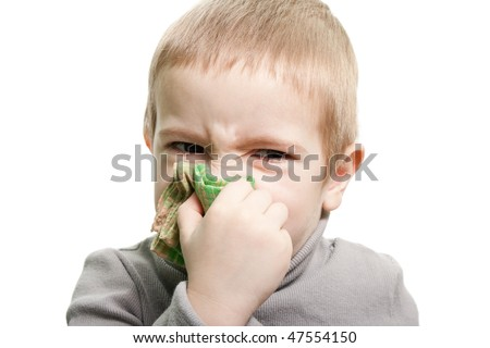 Human child cold flu illness tissue blowing nose