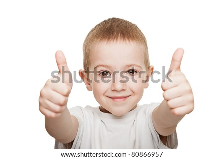 Human child hand gesturing thumb up success sign