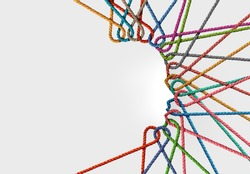 Human connections and personal connected network as a group of diverse ropes linked together as a shape of a person as a creativity and mental health or psychology symbol.