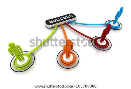 Human 3D model Connection Link Organization chart isolated