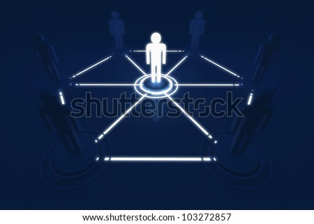 Human 3D model Outstanding Light Connection Link Organization Network