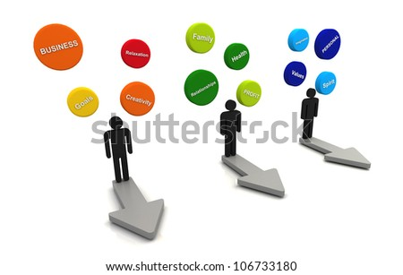 Human 3D render business plan bubble diagram floating and arrow direction concept color