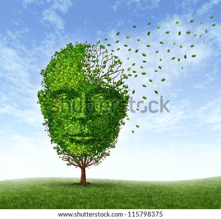 Human dementia problems as memory loss due to age and Alzheimer's disease with the medical icon of a tree in the shape of a front face human head and brain losing leaves as  mind function fades away.