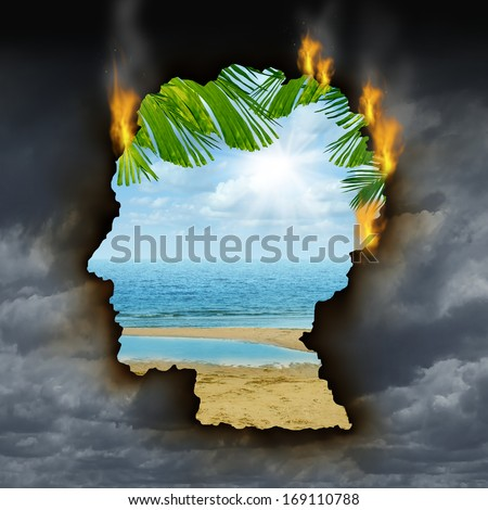 Human escape emotions concept with a dark storm sky burning a hole shaped as a head revealing a beautiful tropical landscape as a metaphor for brain relaxation to fight depression stress and anxiety.