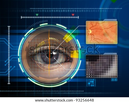 Human eye being scanned by a futuristic interface. Digital illustration. - stock photo