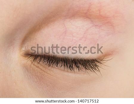 Human eye closed. Close up studio shot