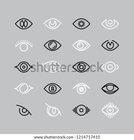 Human eye line icons. Eyesight outline pictograms