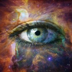 Human eye looking in Universe -