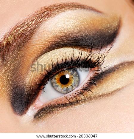 african american eye makeup. stock photo : Human eye of