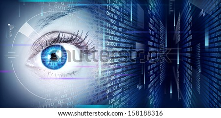 Human eye on technology design background. Cyberspace concept.