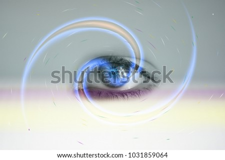 Human eye up close experiencing color perception and light