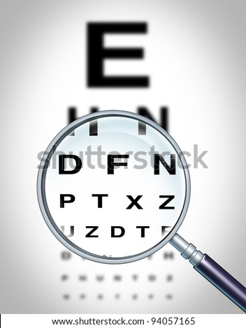 Human eye vision chart and sight medical optometrist symbol for the Ophthalmology department in a hospital with a magnifying glass focusing on the blurred diagram. - stock photo