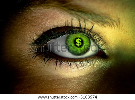 Human eye with a green dollar sign reflection stock photo 5103574