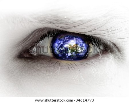 human eye with an integrated planet earth in it