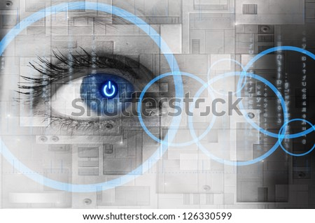 Human eye with power button reflection inside - technology concept #126330599