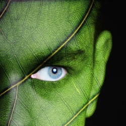 Human face covered with green leaf texture - nature concept