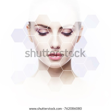 Human face in honeycomb. Young and healthy woman in plastic surgery, medicine, spa and face lifting concept. Сток-фото ©