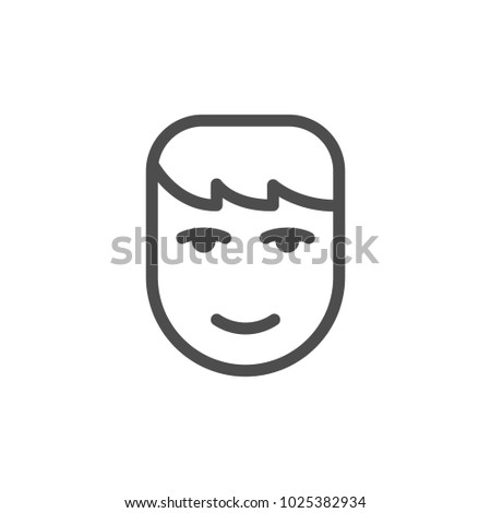 Human face line icon isolated on white