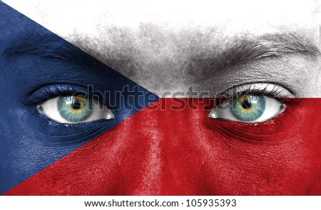Human face painted with flag of Czech Republic