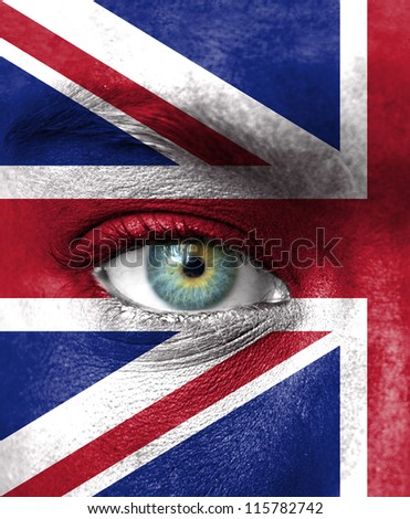 Human face painted with flag of United Kingdom