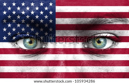 Human face painted with flag of United States of America