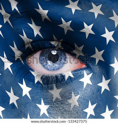 Human face painted with flag of USA