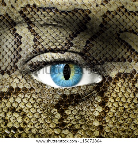 Human face with snake skin texture