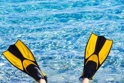 Human feet in swimming equipment flippers fins on beach sea shore. Summer vacation fun concept.