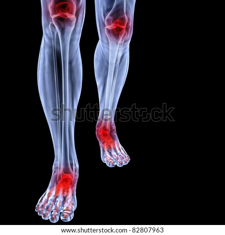 Human feet under X-rays. joints are shown in red. isolated on black.