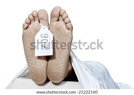 Human feet with identity tag
