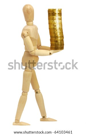 Human figure with coins