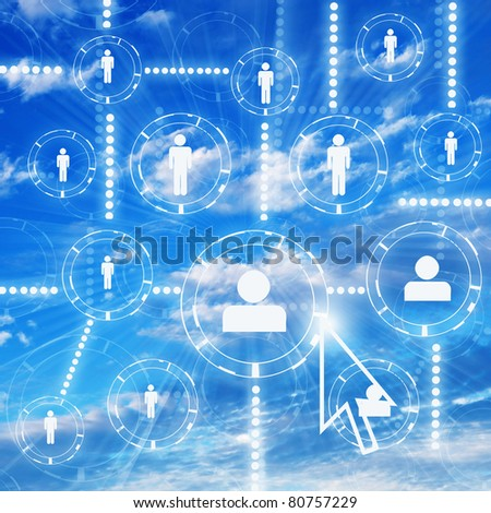 human figures as a symbol of social network - stock photo
