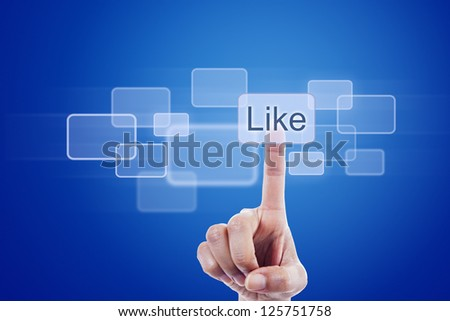 Human finger pressing like button on blue digital touch screen