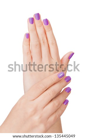 Human Fingers With Beautiful Manicure Isolated Over White Background