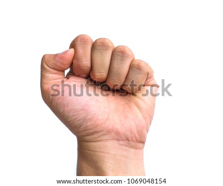 Human fist white background
