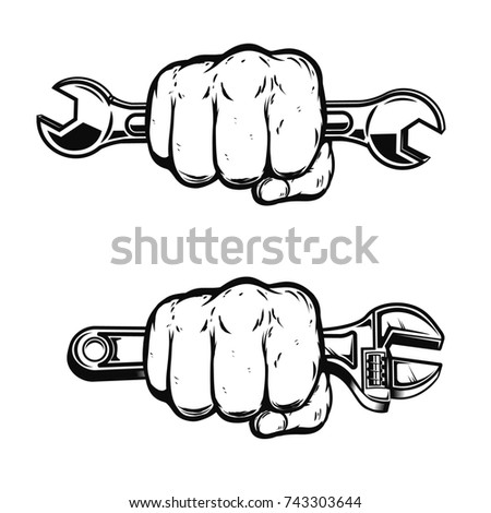 Human fist with wrench. Design element for poster, emblem, sign, badge.