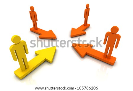 Human Group Purpose arrow 3D render yellow white background