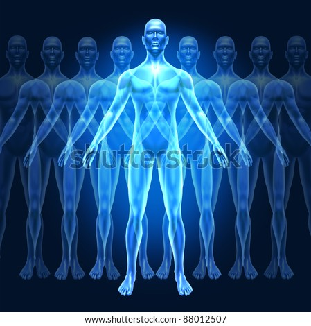 Human growth development and leadership symbol represented by a human with gradual well-being growing phases showing the concept of education and personal  inner strength. - stock photo