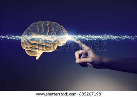 human hand and brain, 3D rendering