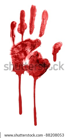 Human hand and fingers bloody print