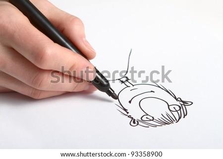 Human Hand drawing caricature of man Foto stock ©